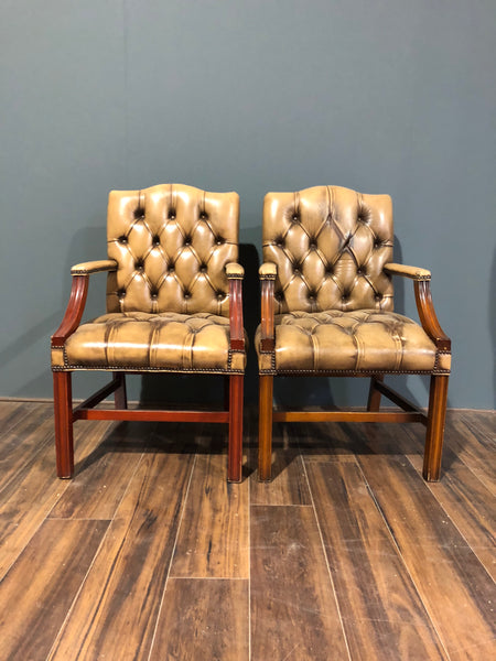 A Charming Pair of Side Chairs in Rustic Tan Leathers