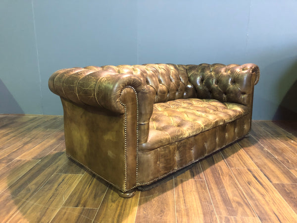 Beautiful!  MidC Leather Chesterfield Sofa in Original Hand Dyed Leathers