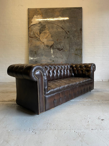 Amazing Chocolate Brown 3 seat Chesterfield with Buttoned seat
