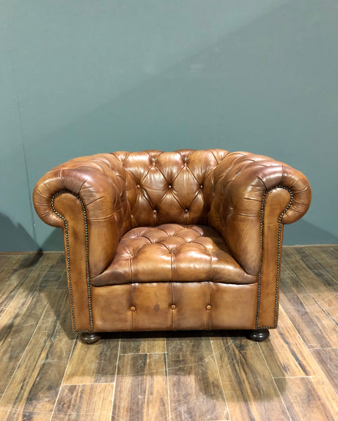 A Beautiful Early 20thC Restored Club Chair in Hand Dyed Saddle Tan