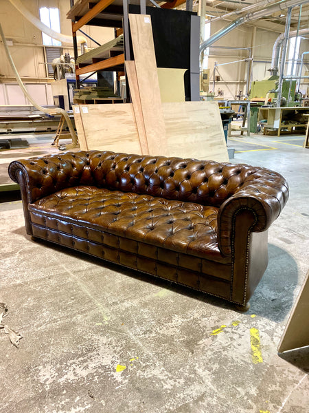 Very Good MidC Vintage Leather Chesterfield Sofa