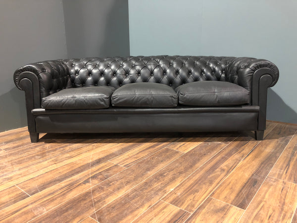 Early 20thC Black Leather Sofa