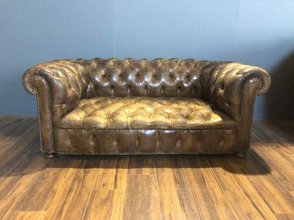 Beautiful!  MidC Leather Sofa in Original Hand Dyed Leathers