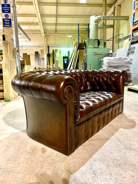 A Great 2 Seater Vintage MidC Chesterfield in Hand Dyed Leathers