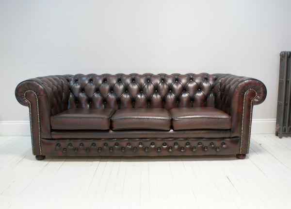 A Super Deep Wine Leather Second Hand Sofa