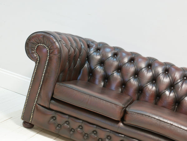 A Super Deep Wine Leather Second Hand Chesterfield Sofa