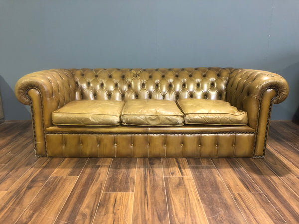An Exceptional Twice Loved Leather Chesterfield Sofa in Olive Tan