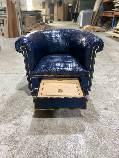 Crocodile Skin Gentleman's Club Chair with Humidor