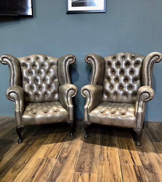 EX DISPLAY - A Beautiful Pair of our Crafting Manner 6 Wing back Chairs