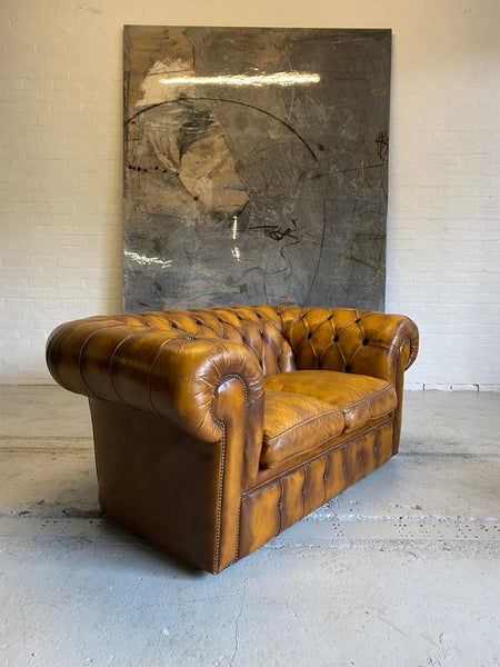 An Amazing Autumn Tan 2 seat Chesterfield Sofa
