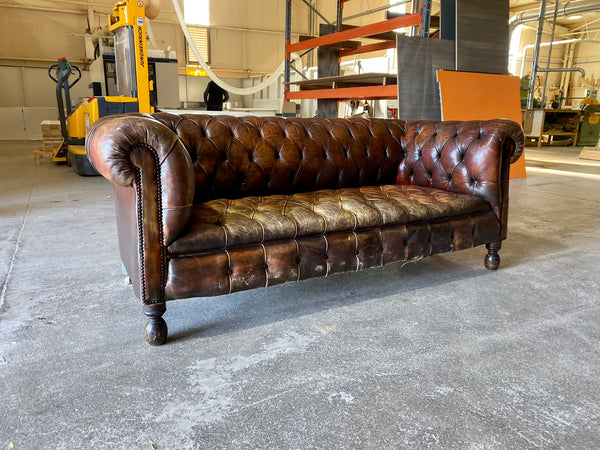 Antique 19thC Chesterfield Sofa in Original Leather