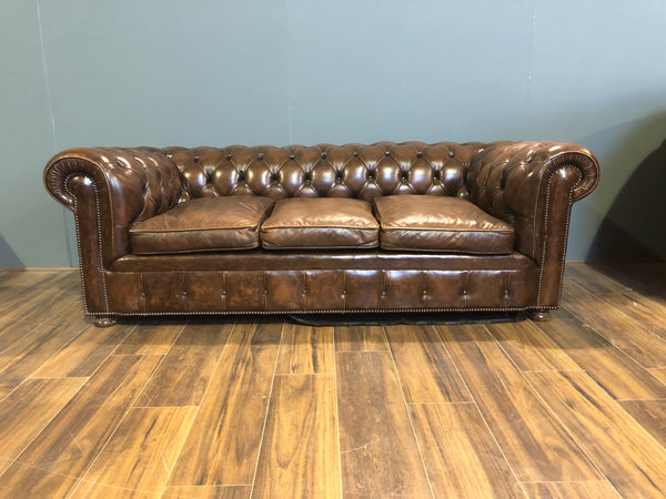 A Very Good Vintage Leather Sofa from the American a Embassy in London - Previously Restored
