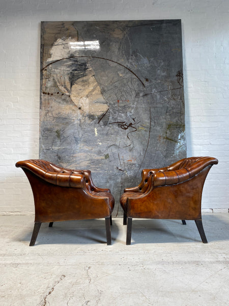 Beautiful Pair of MidC Library Chairs in Rustic Horse Chestnut Hand Dyed Leathers