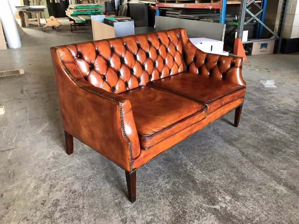 A Very Handsome Vintage Hand Dyed Leather Sofa