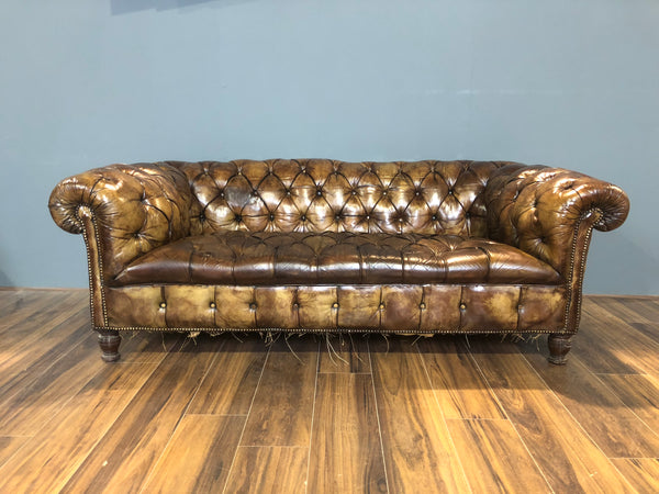 RARE! Original 19thC Chesterfield Sofa in Original Leather