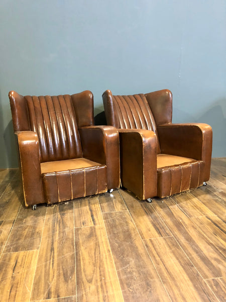 A Very Very Nice Matching Pair of Early 20thC Leather Armchairs