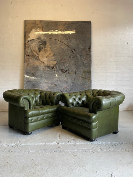 Military Green Chesterfield Club Chairs