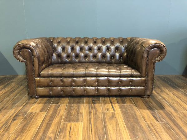 Our Bute 2 Seater in Dark Oak Hand Dyed Leathers