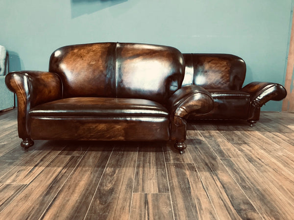 Super Pair of Fully Restored 1920's Art Deco Club Sofas with Drop arms - Hand Dyed in Tobacco Browns