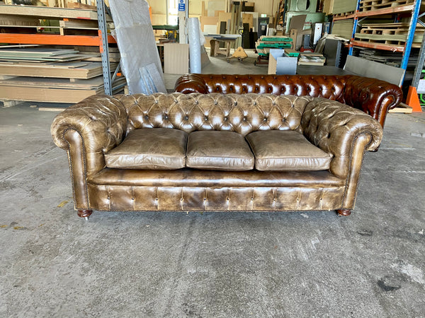 Exceptional Hand Dyed Leather Chesterfield Sofa in Chalk Brown