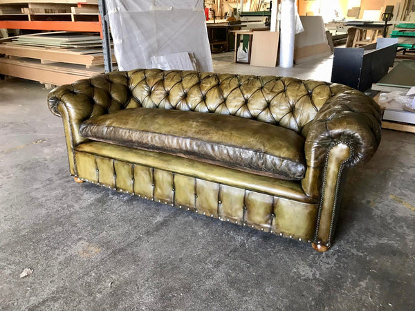 An Amazing Chesterfield Sofa in Hand Dyed Olive