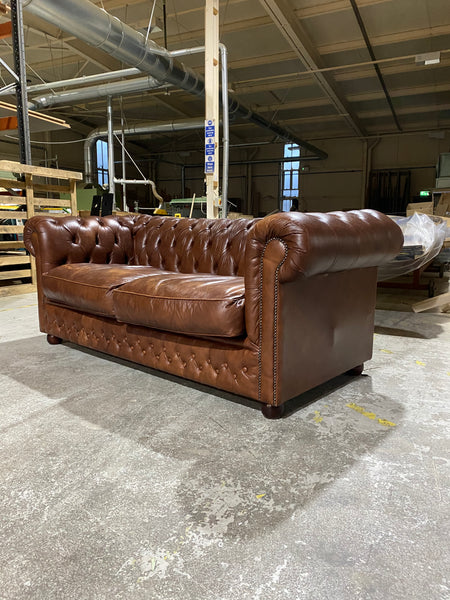 Lovely Twice Loved Chesterfield Sofa in Milk Chocolate Browns