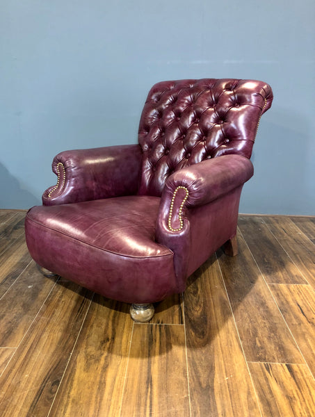 Shelburne Hand Dyed Leather Armchair in Deep Orchard