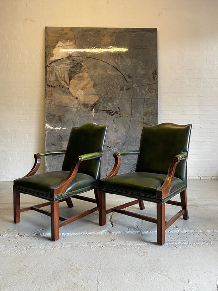 A Beautiful Pair of Library Chairs in Deep Green Leathers