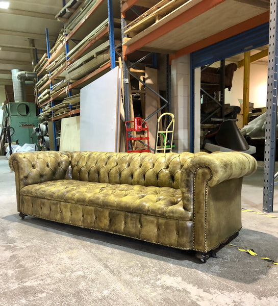 Exceptional Early 20thC Leather Chesterfield Sofa - original leathers