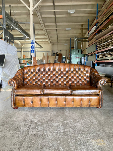 A Beautiful Arch Backed Chesterfield suite in Hand Dyed Leathers