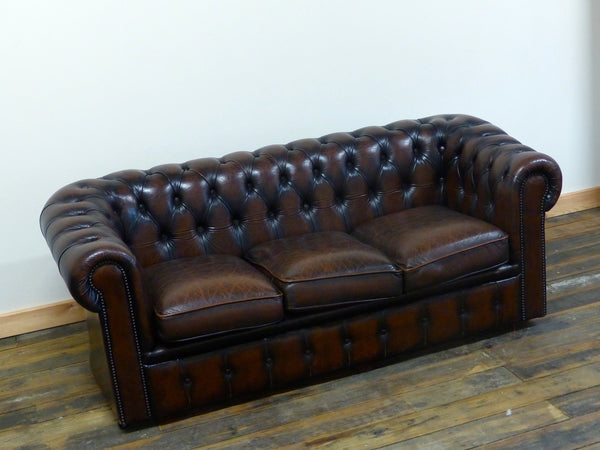 THREE SEAT OXBLOOD CHESTERFIELD