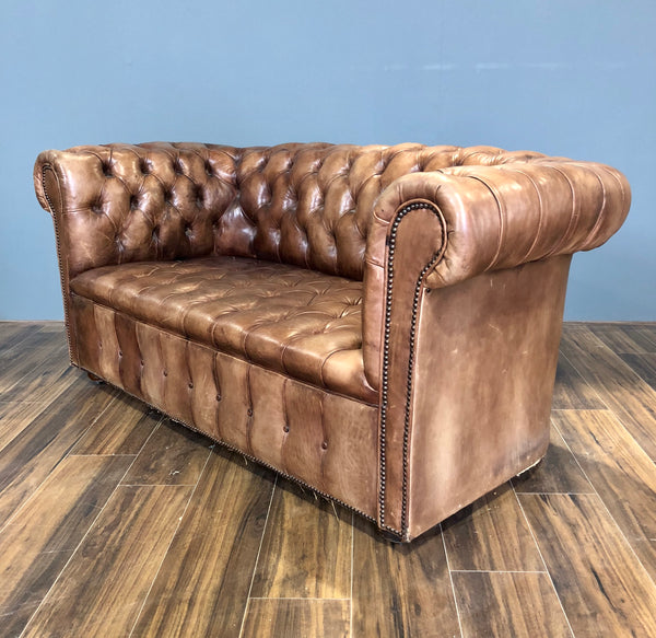 An Amazing Vintage 2 Seater Chesterfield Sofa in Original Leathers