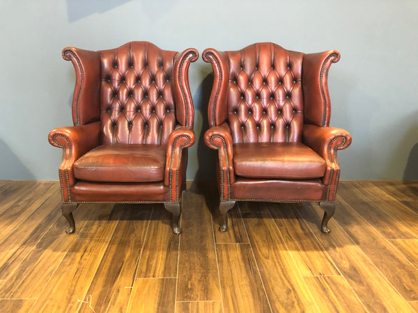 A Super Matching Pair of Queen Anne Wing Chairs