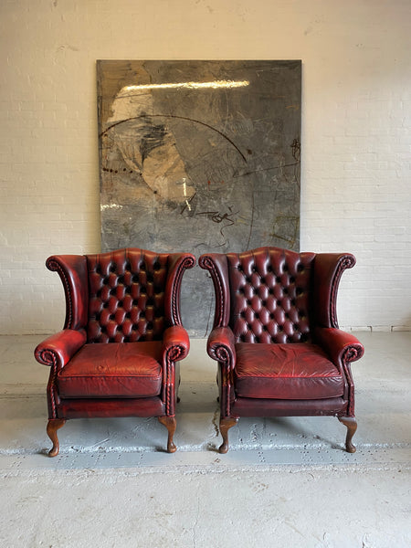 Lovely Matching Pair of Queen Anne Chairs in Raspberry Red Leathers