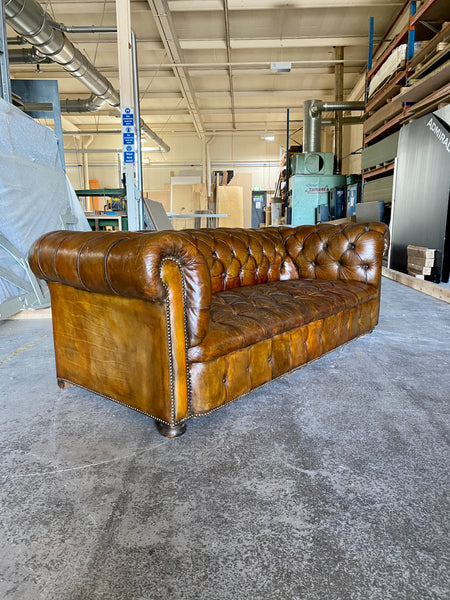 A Very Warm MidC Vintage Leather Chesterfield Sofa