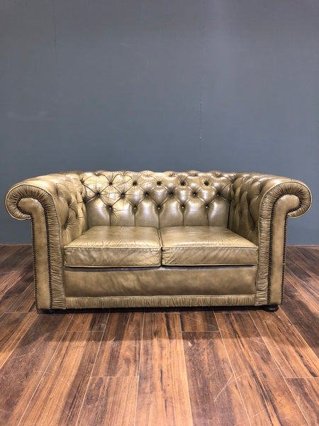 A Really Lovely 2 Seater Chesterfield in Chalk Green