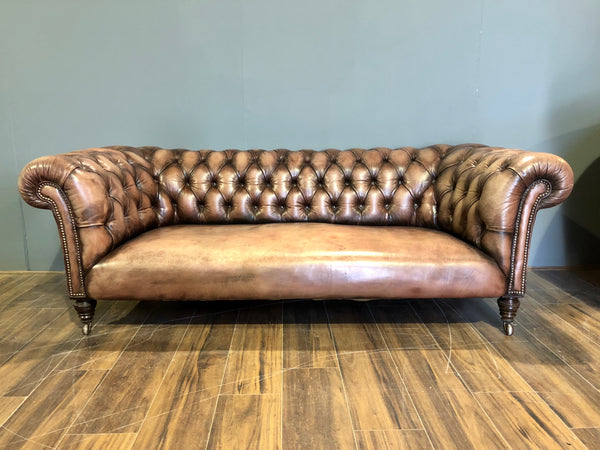 Antique chesterfield sofa tan leather