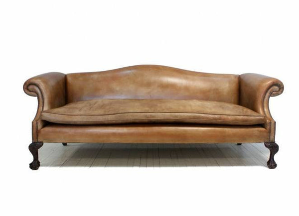 ROCKINGHAM CHIPPENDALE SOFA CARAMEL TAN