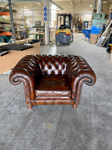 An Exceptionally Large Gentleman's Club Chair in Hand Dyed Dark Walnut