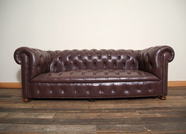 LOOSE COIL SPRUNG VINTAGE CHESTERFIELD SOFA