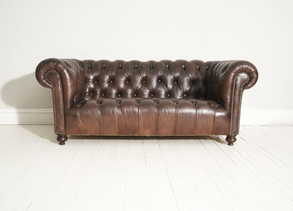 ANTIQUE CHESTERFIELD SOFA : RESTORED RICH BROWN