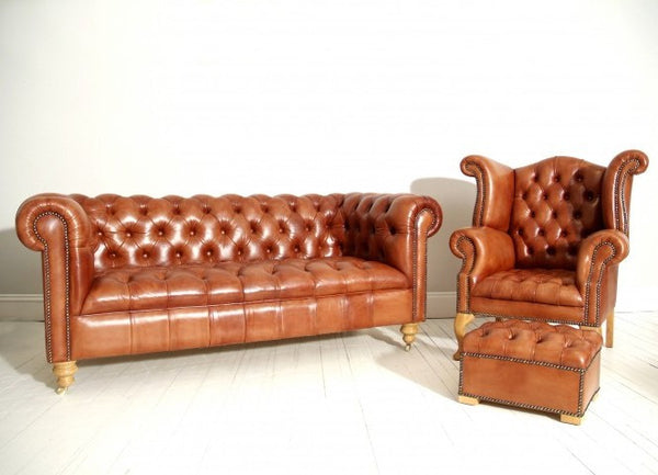 HAND DYED PRELOVED CHESTERFIELD SUITE : TAN
