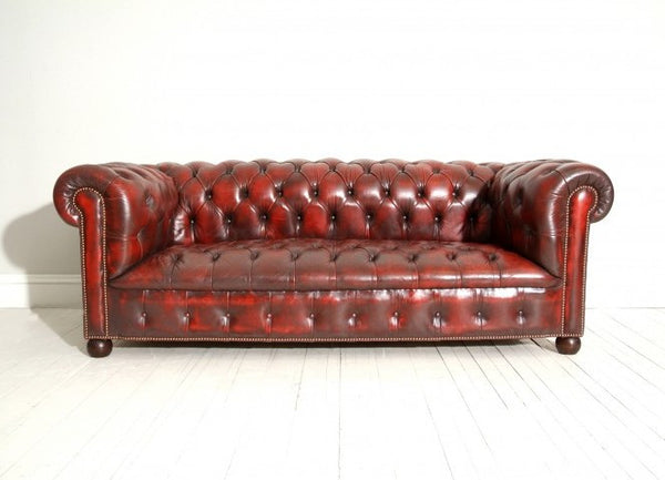 VINTAGE RESTORED CHESTERFIELD SOFA : WINE RED — Regular price £ ...
