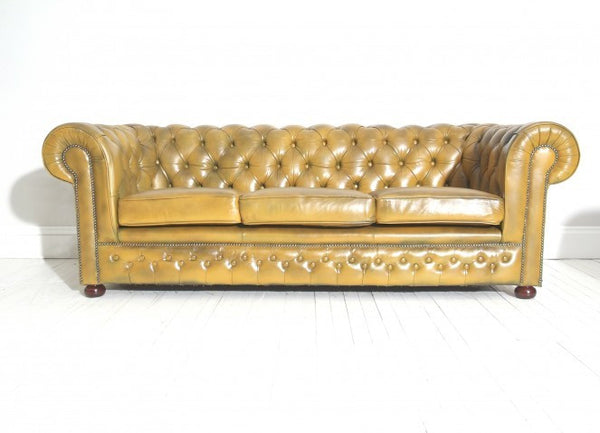 FULLY RESTORED CHESTERFIELD SOFA : MUSTARD TAN