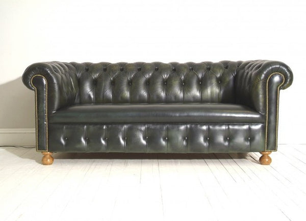 FULLY RESTORED VINTAGE CHESTERFIELD SOFA : DEEP INK GREEN