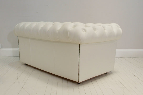 FULLY RESTORED CHESTERFIELD SOFA : ARCTIC WHITE