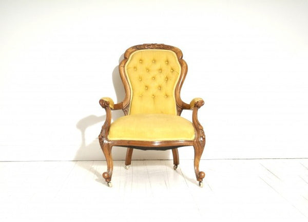 Antique Occasional Chair In Yellow