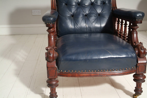 ANTIQUE EARLY 19TH CENTURY FORMAL CHAIR : BLUE LEATHER