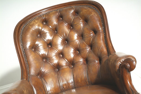 ANTIQUE BROWN LEATHER SLIPPER CHAIR : MID 19THC