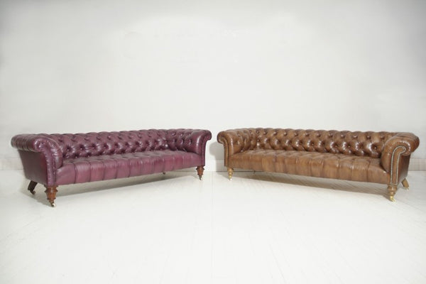 PAIR OF WILLIAM IV CHESTERFIELD SOFAS : RICH BROWN & GRAPE